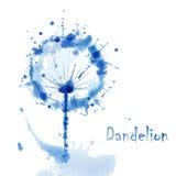 与花dandel的抽象水彩艺术手油漆背景 免版税图库摄影