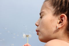 Dandelion. The girl blows on a dandelion Royalty Free Stock Photography