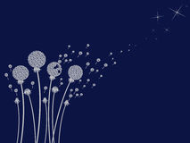 Dandelion. Grey dandelion on blue background Royalty Free Stock Photos