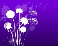 Dandelion blue. Inkblot dandelions in a blue gradient background Royalty Free Stock Images