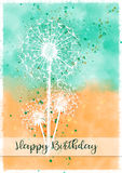 Dandelion Burst Happy Birthday Card. An abstract dandelion burst Happy Birthday card with an aqua and orange colour watercolour effect background. Splatters and Royalty Free Stock Photos