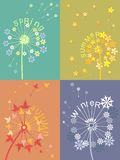 Dandelion calendar. Set of 4 seasons metaphors with dandelion patterns Stock Photo