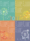Dandelion_calendar_seasons. Dandelion calendar 2011, vector illustration Stock Photos