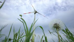 Dandelion clock and wind turbine electricity generator on cloudy sky. Static. Dandelion clock and wind turbine electricity generator on cloudy sky background stock footage