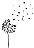 Dandelion czarny i biały ilustracja wektor