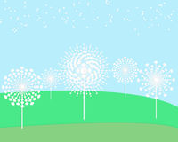 Dandelion flower field. Paper background royalty free illustration