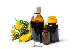 Dandelion flowers and essential oil isolated. On white stock photo