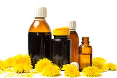Dandelion flowers and essential oil isolated. On white stock image