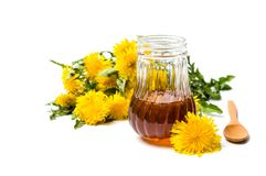 Dandelion flowers and honey jar isolated. On white royalty free stock photos