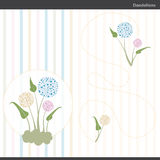 Dandelion flowers. Vector illustration of dandelion flowers with green leaves Stock Photos