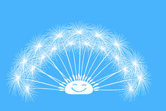 Dandelion fluffy fun vector on a blue background Royalty Free Stock Photos