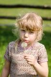Dandelion fundindo da menina fotografia de stock royalty free