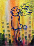 Dandelion Girl. Abstract painting of a little girl on yellow background Stock Photo
