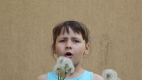 Dandelion. Girl blowing on a dandelion stock video