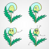 Dandelion 1. Hand drawn dandelion with different emotions. Vector illusatrtion Royalty Free Stock Photography