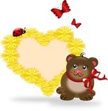 Dandelion heart with small cute bear Stock Photography