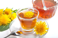 Dandelion herbal tea and honey on white background. Dandelion herbal tea on white background, isolated, with yellow blossom in teacup, leaf and honey royalty free stock images