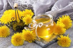 Dandelion honey. In a jar and fresh flowers Royalty Free Stock Image