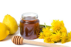 Dandelion honey in a jar and fresh flowers. On white Stock Images