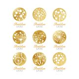 Dandelion logo template set, beautiful nature badge for your own design vector Illustrations Royalty Free Stock Images