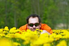 Dandelion meadow. Portrait of person on the dandelion meadow Royalty Free Stock Photography