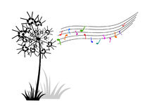 Dandelion of music notes Stock Photography