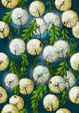Dandelion pattern. Flowers of dandelion with ladybugs on a blue background Stock Image