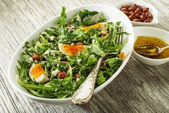 Dandelion salad with eggs and beans royalty free stock photos