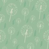Dandelion seamless pattern. on a pastel background. Seamless pattern can be used for wallpaper, pattern fills, web page background, surface textures Royalty Free Stock Images