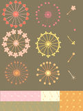 Dandelion set. Set of 6 simple hand drown stylized patterns, elements and seamless swatches Stock Image