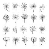 Dandelion silhouette icons Royalty Free Stock Image