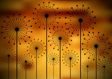 Dandelion silhouettes on blurry background Royalty Free Stock Image