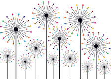 Dandelion silhouettes with colorful polka dots Stock Images