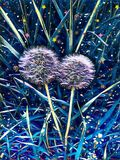 Dandelion in spring in a clearing in the night. And the light of the stars illuminates dandelions vector illustration