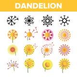 Dandelion, Spring Flower Vector Thin Line Icons Set stock illustration