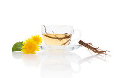 Dandelion tea background, herbal remedy. Royalty Free Stock Images