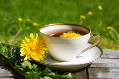 Dandelion tea in a white cup on a wooden table against a blurry Stock Photos