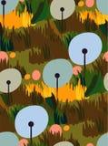 Dandelion vector stylized modern seamless floral pattern vector illustration