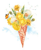 The dandelion in waffle cone. Watercolor bouquet of fresh dandelions in the waffle cone natural floral greeting card isolated on white background Royalty Free Stock Image