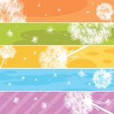 Dandelion Web banners. Web banners with stylized dandelions in pastels Stock Photo