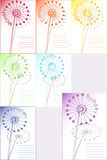 Dandelion  week. Set of 7 dandelions note paper sheets, days of week Stock Photography