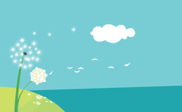 Dandelion in the wind. Vector illustration Royalty Free Stock Photography