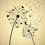 Dandelion With Hearts And Notes Royalty Free Stock Photo
