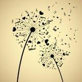 Dandelion z sercami i notatkami Zdjęcie Royalty Free