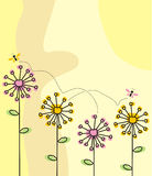 Dandelions. The Beautiful frame with flowers graphics. The Illustration Stock Photos