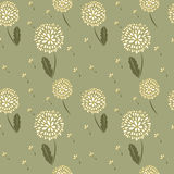 Dandelions background. Elegance seamless background with blowballs Royalty Free Stock Images