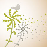 Dandelions and birds silhouette. Royalty Free Stock Image