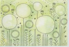 Dandelions. Bright green field with blooming dandelions Stock Images