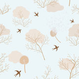 Dandelions, dry flowers and swallows. Dry dandelions, flowers and swallows in seamless pattern Stock Photography