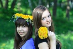 dandelions dziewczyny Zdjęcia Royalty Free